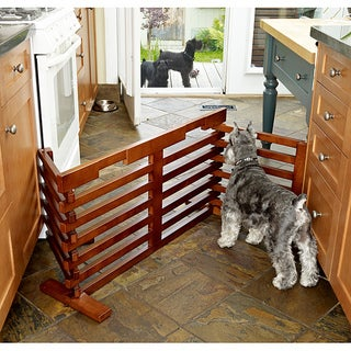 Merry Products Gate-n-Crate Walnut Wooden High Folding Pet Gate