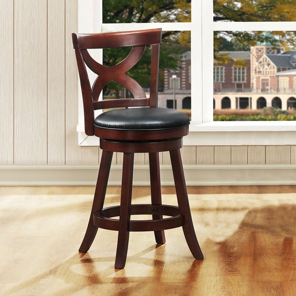 Crosby Cherry X-back 24-inch Swivel High Back Counter Stool by TRIBECCA HOME