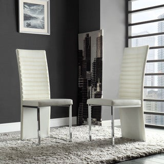 INSPIRE Q Reynold White Metal Sleek Modern Contoured Dining Chair (Set of 4)