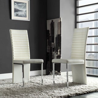 Reynold White Metal Sleek Modern Contoured Dining Chair (Set of 4) by iNSPIRE Q Bold