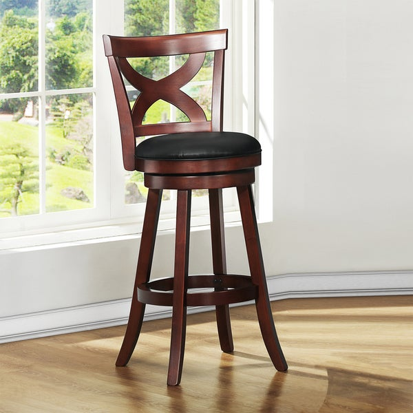 Shop Crosby Cherry X Back 29 Inch Swivel High Back Barstool By