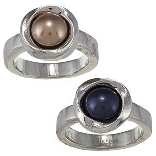 NEXTE Jewelry Stainless Steel Crystal Faux Pearl Ring (More options available)