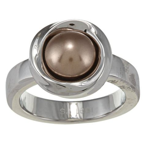 NEXTE Jewelry Stainless Steel Crystal Faux Pearl Ring