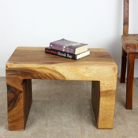 "Handmade Eco Wood Waterfall Table (Thailand) - 16"" x 16"" x 24"""