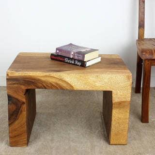 Haussmann Handmade Eco Wood Waterfall Table 24 L x 16 x 16 H Walnut Oil