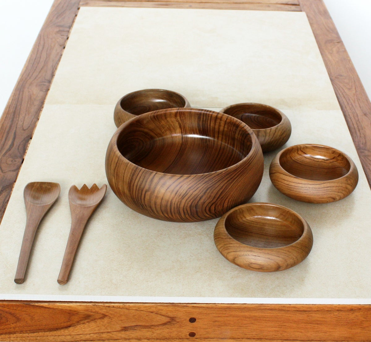 Teak Wood Pieces ~ Handmade teak salad bowl piece boxed serving set