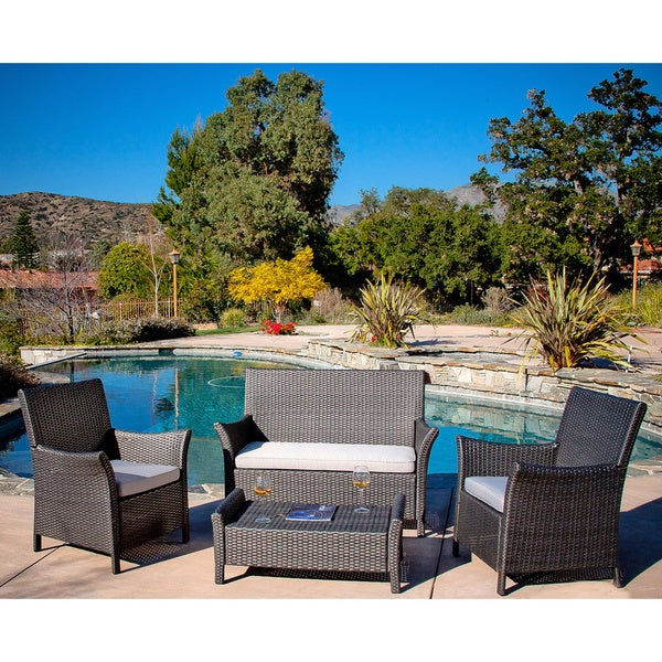 Christopher Knight Home Oahu Grey Wicker Outdoor Sofa Set