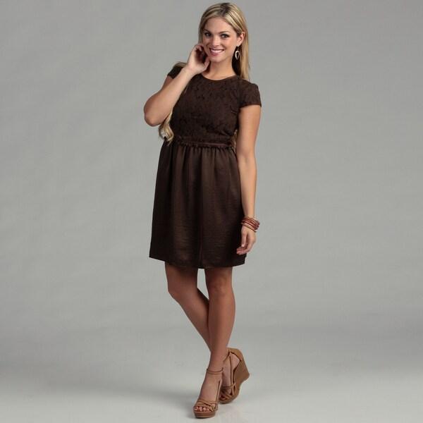 Gabby Skye Women's Brown Lace Cap Sleeve Dress