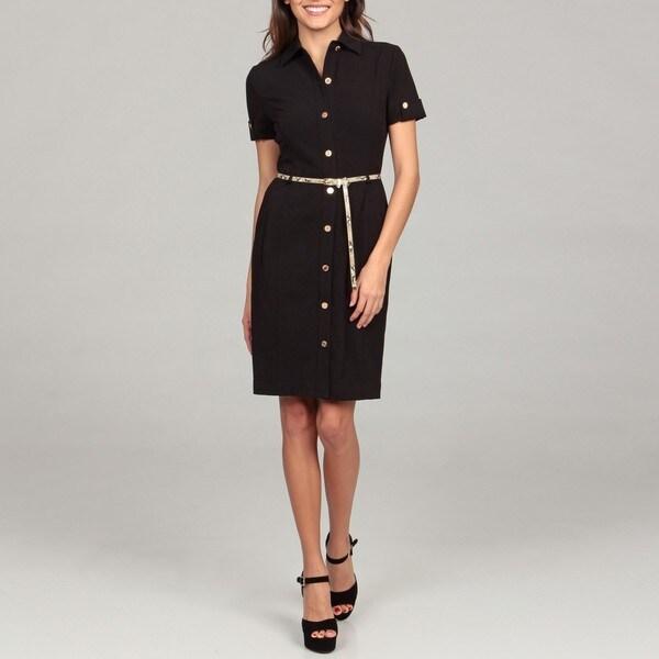 Calvin Klein Women's Black Belted Shirt Dress
