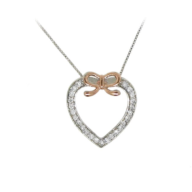 Sterling Silver Clear Cubic Zirconia Heart and Bow Necklace