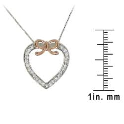 Sterling Silver Clear Cubic Zirconia Heart and Bow Necklace - Thumbnail 2
