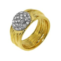 Goldplated Clear Cubic Zirconia Multi-tiered Circle Ring - Thumbnail 1