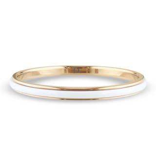 Miadora Goldtone Stainless Steel and White Ceramic Bangle Bracelet