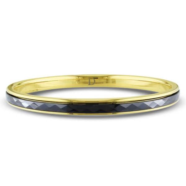 M by Miadora Goldtone Stainless Steel and Black Ceramic Bangle Bracelet