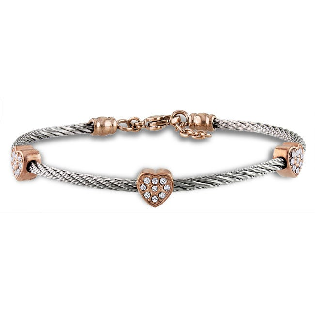 Miadora Stainless Steel Cubic Zirconia Heart Station 7-inch Cable Bracelet