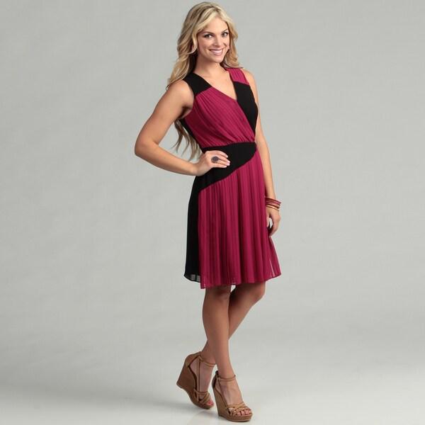 Gabby Skye Women's Fuchsia/ Black Colorblock Dress