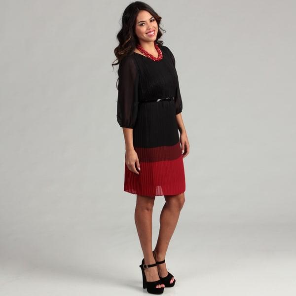 Gabby Skye Women's Black/ Red Pleated Dress