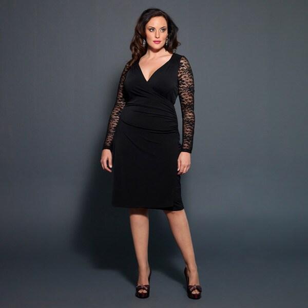 Shop Kiyonna Women\'s Plus Size \'Wilshire\' Black Lace-sleeve Dress ...