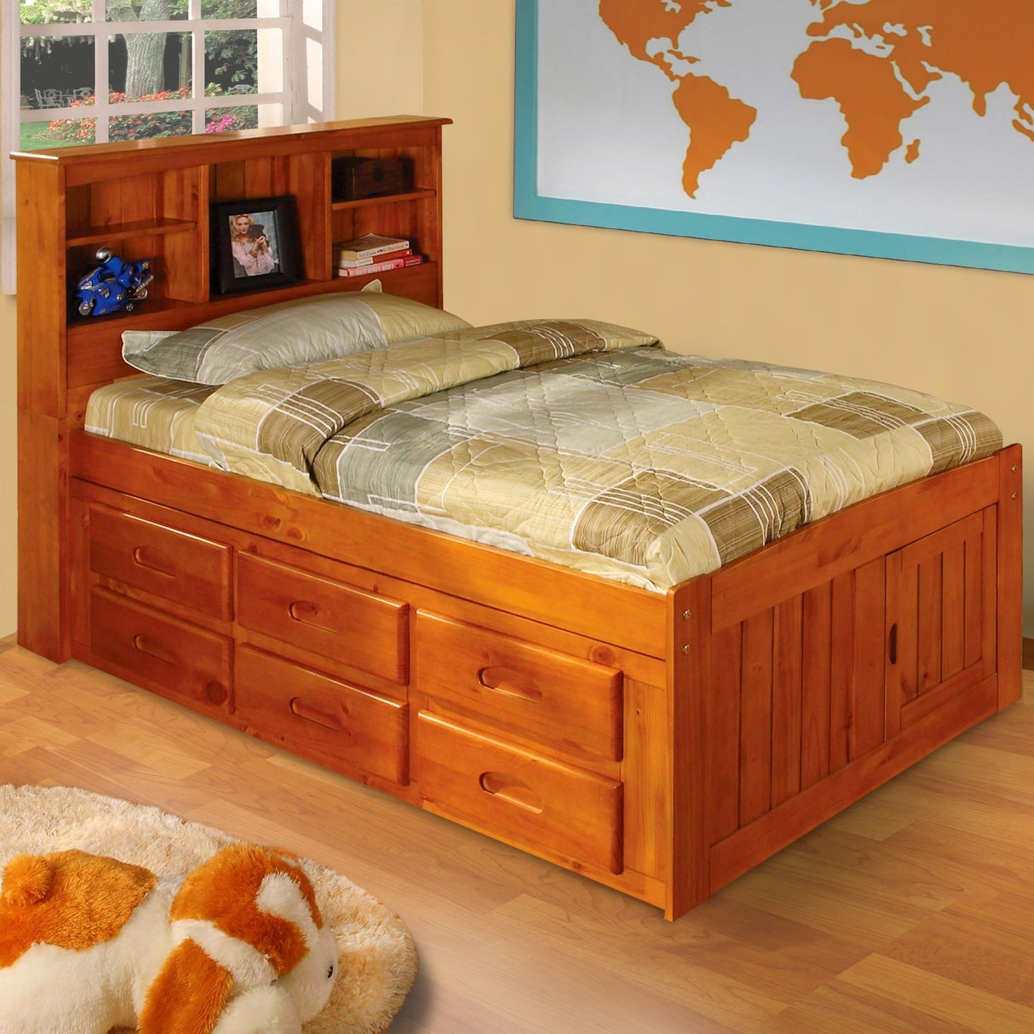 Picture of: Honey Finished Wood Metal 6 Drawer Twin Size Bed With Bookcase Overstock 6523306