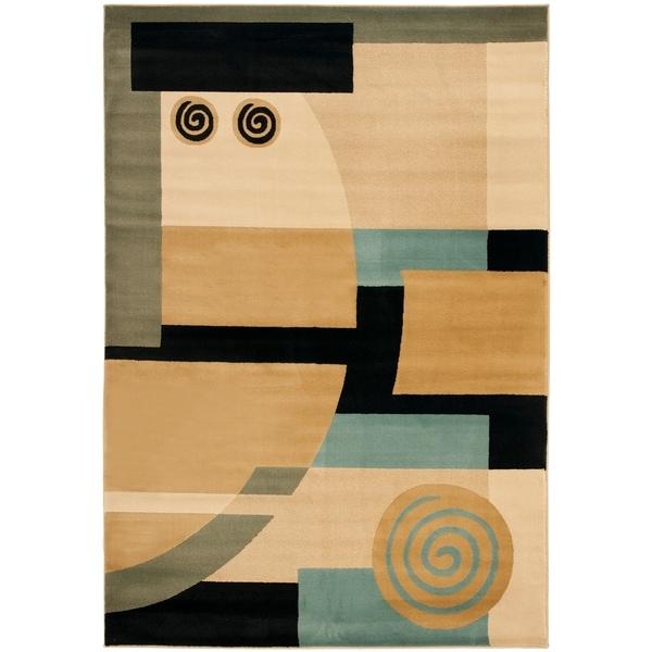 "Safavieh Porcello Modern Deco Blue/ Multi Rug - 5'-3"" x 7'-7"""