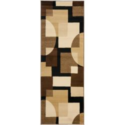 Safavieh Porcello Modern Abstract Brown/ Multi Rug (2'4 x 9')