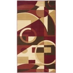 Safavieh Porcello Modern Abstract Red/ Beige Rug (2' x 3'7)