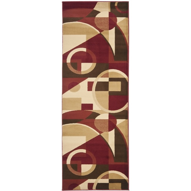 Safavieh Porcello Modern Abstract Red/ Beige Runner Rug (2'4 x 6'7) - Thumbnail 0