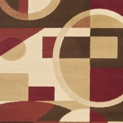 Safavieh Porcello Modern Abstract Red/ Beige Runner Rug (2'4 x 6'7) - Thumbnail 2