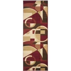 Safavieh Porcello Modern Abstract Red/ Beige Runner Rug (2'4 x 9')