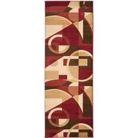 "Safavieh Porcello Modern Abstract Red/ Beige Runner Rug - 2'4"" x 9'"