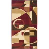 Safavieh Porcello Modern Abstract Red/ Beige Rug - 2'7 x 5'