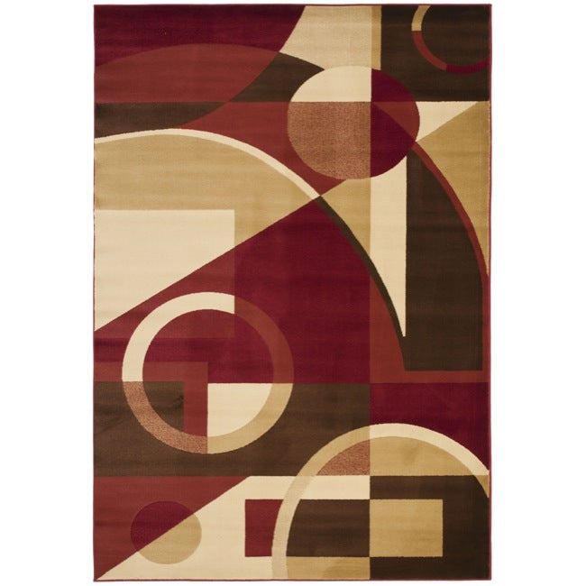 Safavieh Porcello Modern Abstract Red/ Beige Area Rug (5'3 x 7'7)