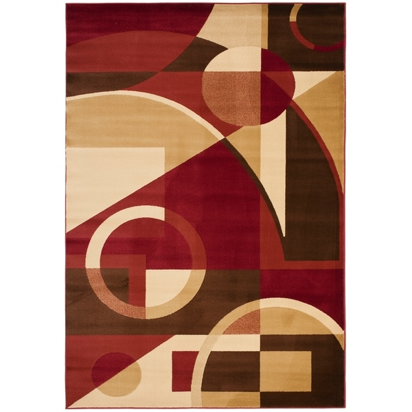"""Safavieh Porcello Modern Abstract Red/ Beige Area Rug - 5'3"""" x 7'7"""""""