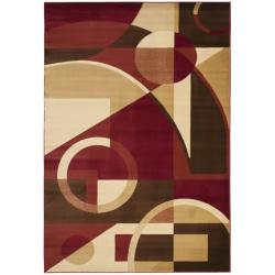 Safavieh Porcello Modern Abstract Red/ Beige Area Rug (6'7 x 9'6)