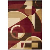 Safavieh Porcello Modern Abstract Red/ Beige Area Rug - 6'7 x 9'6