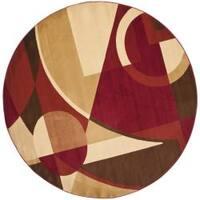 Safavieh Porcello Modern Abstract Red/ Beige Rug - 7' x 7' Round
