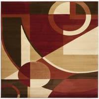 Safavieh Porcello Modern Abstract Red/ Beige Rug - 7' x 7' Square