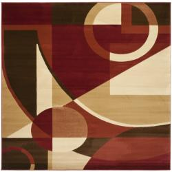 Safavieh Porcello Modern Abstract Red/ Beige Rug (7' Square)