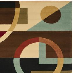 Safavieh Porcello Modern Abstract Black/ Blue Rug (4' x 5'7) - Thumbnail 1
