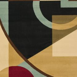 Safavieh Porcello Modern Abstract Black/ Blue Rug (4' x 5'7) - Thumbnail 2