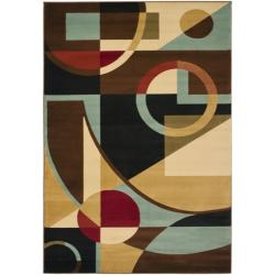 Safavieh Porcello Modern Abstract Black/ Blue Rug (6'7 x 9'6)