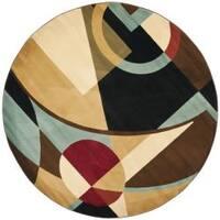 Safavieh Porcello Modern Abstract Black/ Blue Rug - 7' x 7' Round