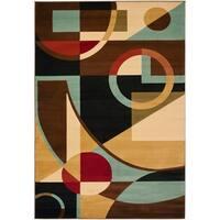 "Safavieh Porcello Modern Abstract Black/ Blue Rug - 8' x 11'-2"""
