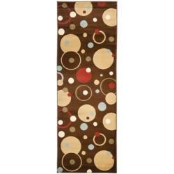 Safavieh Porcello Modern Cosmos Brown/ Multi Runner Rug - 2'4 x 9' - Thumbnail 0