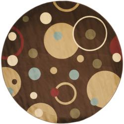 Safavieh Porcello Modern Cosmos Brown/ Multi Rug (7' Round)