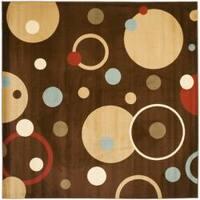 Safavieh Porcello Modern Cosmos Brown/ Multi Rug - 7' x 7' Square