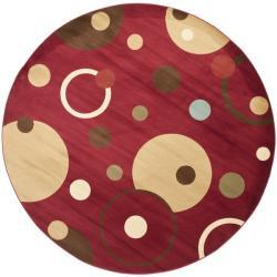 Safavieh Porcello Modern Cosmos Red/ Multi Rug (7' Round)