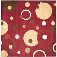 Safavieh Porcello Modern Cosmos Red/ Multi Rug - 7' x 7' Square