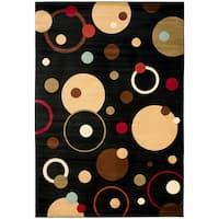"Safavieh Porcello Modern Cosmos Black/ Multi Rug - 4' x 5'7"""