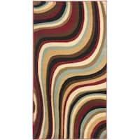 Safavieh Porcello Contemporary Waves Red/ Multi Rug - 2' x 3'7